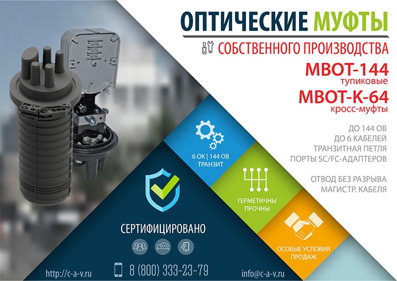 Оптические муфты МВОТ-144 и МВОТ-К-64 собственного производства