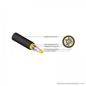 Hyperline FO-FD-IN/OUT-503-4-LSZH-BK (FO-FD-IN/OUT-503-4-LSZH) Кабель волоконно-оптический 50/125(OM3) многомодовый, 4 волокна, полуплотное буферное покрытие (semi-tight buffer), внутренний/внешний, LSZH IEC 60332-3, –40°C – +70°C, черный