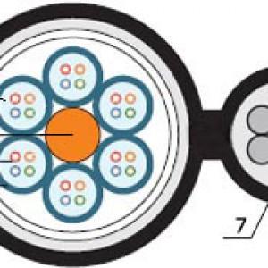 Hyperline FO-SSMT-OUT-9-12-PE-BK Кабель волоконно-оптический 9/125 (OS2) одномодовый, 12 волокон, с металлическим тросом (5 мм), многомодульная конструкция (multi loose tube), для внешней прокладки, PE, -40°C - +70°C, черный