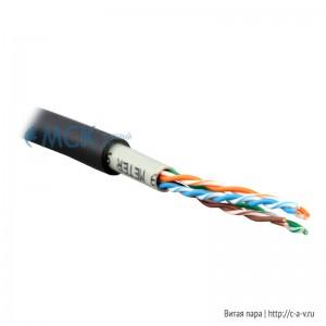 Teldor 7598004101D050T (куски) Кабель витая пара, неэкранированная U/UTP, категория 5e, 4 пары (24 AWG), одножильный (solid), внешний, двойная оболочка PVC и FR-PVC, -30 °C - +60 °C, черный