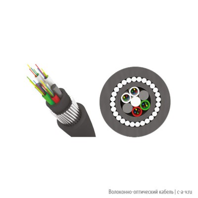 Трансвок ОКБ-2/2(2.0)Сп-8(1/62.5) (7кН) Кабель волоконно-оптический 62.5/125 многомодовый, 8 волокон, с броней из стальной круглой проволоки модульной конструкции, для прокладки в грунтах всех категорий, черный