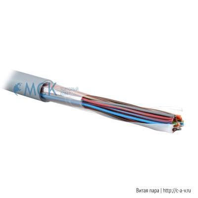 Teldor 7552025129 (T50025001G) (75N2025129) (T50025001B W100T) Кабель витая пара, неэкранированная U/UTP, категория 3, 25 пар (24 AWG), одножильный (solid), FR PVC, -10°C - +50°C, светло-серый