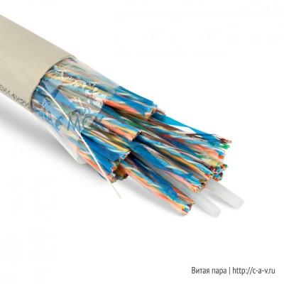 Teldor 7564425129W050T Кабель витая пара, неэкранированная U/UTP, категория 5, 100 пар (24 AWG), одножильный (solid), FR PVC, -20°C - +60°C, светло-серый