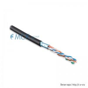 Hyperline FUTP4-C5E-S22-OUT-PE-BK (FTP4-C5E-SOLID-22AWG-OUTDOOR-40) (куски) Кабель витая пара, экранированная F/UTP, категория 5e, 4 пары(22 AWG), одножильный(solid), экран-фольга,внешний, PE, -40°C – +60°C, черный - гарантия: 15 лет компонентная