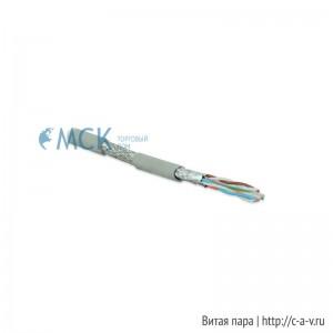 Hyperline SFTP4-C6A-S23-IN-LSZH-GY (куски) Кабель витая пара, экранированная (S/FTP), категория 6a, 4 пары (23 AWG), одножильный (solid), каждая пара в фольге, общий экран - медная оплетка, для внутренней прокладки (до +60°C), LSZH, серый