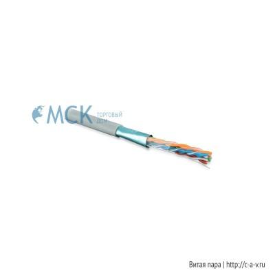 Hyperline FUTP4-C5E-S24-IN-PVC-GY-305 (FTP4-C5E-SOLID-GY-305) (305 м) Кабель витая пара, экранированная F/UTP, категория 5e, 4 пары (24 AWG), одножильный (solid), экран - фольга, PVC, –20°C – +75°C, серый - гарантия: 15 лет компонентная; 25 лет системная