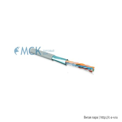 Hyperline FUTP4-C5E-S24-IN-LSZH-GY-305 (FTP4-C5E-SOLID-LSZH-GY-305) (305 м) Кабель витая пара F/UTP, категория 5e, 4 пары (24 AWG), одножильный (solid), экран - фольга, LSZH, нг(С)-HF, –20°C – +75°C, серый - гарантия: 15 лет компонентная; 25 лет системная