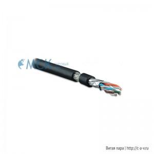Hyperline SFTP4-C7A-S22-OUT-PE-BK-500 (SSTP4-C8-SOLID-OUTDOOR-55-500) (500 м) Кабель витая пара S/FTP, категория 7A,4 пары(22 AWG),одножил.(solid), экран-медн.оплетка, кажд. пара в фольге,внешний, PE,-55°C-+70°C,черный-гарантия: 15 лет компонентная
