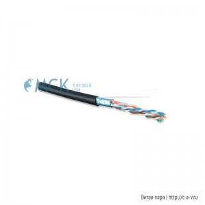 Hyperline FUTP4-C5E-S24-OUT-PE-BK-500 (FTP4-C5E-SOLID-OUTDOOR-40-500) (500м) Кабель витая пара, экранир. F/UTP, кат. 5e, 4 пары (24AWG), одножильный (solid), экран - фольга, внешний, PE, -40°C–+60°C, черный-гарантия: 15 лет компонентная