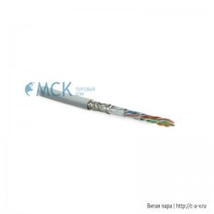 Hyperline SFUTP4-C5E-P26-IN-LSZH-GY-305 (305 м) Кабель витая пара, экранированная SF/UTP, категория 5e, 4 пары (26 AWG), многожильный (patch), экран-фольга+мед. оплетка, LSZH, –20°C–+75°C, серый