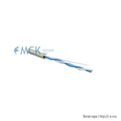 Hyperline UUTP1-C5-P24-IN-PVC-GY-500 (UTP1-C5E-PATCH-GY-500) (500 м) Кабель витая пара, неэкранированная U/UTP, категория 5, 1 пара (24 AWG), многожильный (patсh), PVC, -20°C - +75°C, серый