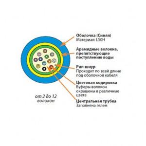 Siemon 9GG5L012G-T106M Кабель волоконно-оптический LightSystem 50/125 (OM2) многомодовый, 12 волокон, loose tube, внутренний/внешний, LSOH1 (IEC 60332-1), -30°C - +70°C, синий