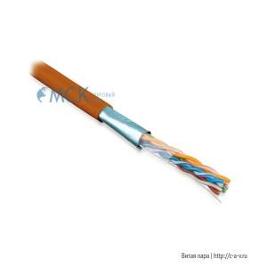 Hyperline FUTP4-C5E-S24-IN-LSZH-OR (FTP4-C5E-SOLID-LSZH-OR) (куски) Кабель витая пара F/UTP, категория 5e, 4 пары (24 AWG), одножильный (solid), экран - фольга, LSZH, нг(С)-HF, –20°C – +75°C, оранжевый - гарантия: 15 лет компонентная; 25 лет системная