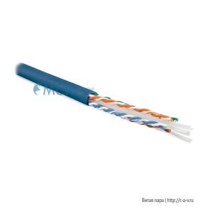 Hyperline UUTP4-C6-S23-IN-PVC-BL-88 (UTP4-C6-SOLID-BL-88) (88 м) Кабель витая пара, неэкранированная U/UTP, категория 6, 4 пары (23 AWG), одножильный (solid), с разделителем, PVC, –20°C – +75°C, синий - гарантия: 15 лет компонентная; 25 лет системная