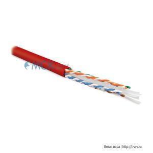 Hyperline UUTP4-C6-S23-IN-LSZH-RD-100 (100 м) Кабель витая пара U/UTP, категория 6, 4 пары (23 AWG), одножильный (solid), с разделителем, LSZH, нг(С)-HF, –20°C – +75°C, красный - гарантия:15 лет компонентная; 25 лет системная