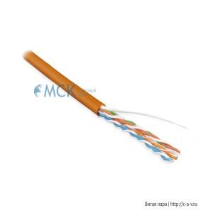 Hyperline UUTP4-C5E-S24-IN-PVC-OR (UTP4-C5E-SOLID-OR) (куски) Кабель витая пара, неэкранированная U/UTP, категория 5e, 4 пары (24 AWG), одножильный (solid), PVC, -20°C – +75°C, оранжевый - гарантия: 15 лет компонентная; 25 лет системная