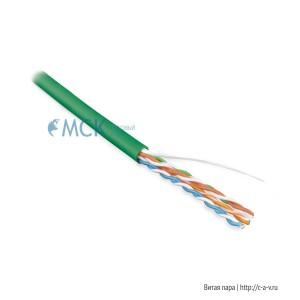 Hyperline UUTP4-C5E-S24-IN-PVC-GN-305 (UTP4-C5E-SOLID-GN-305) (305 м) Кабель витая пара, неэкранированная U/UTP, категория 5e, 4 пары (24 AWG), одножильный (solid), PVC, -20°C – +75°C, зеленый - гарантия: 15 лет компонентная; 25 лет системная