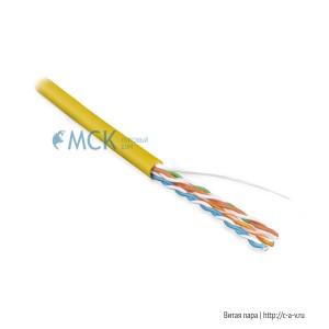 Hyperline UUTP4-C5E-S24-IN-PVC-YL-305 (UTP4-C5E-SOLID-YL-305) (305 м) Кабель витая пара, неэкранированная U/UTP, категория 5e, 4 пары (24 AWG), одножильный (solid), PVC, -20°C – +75°C, желтый - гарантия: 15 лет компонентная; 25 лет системная