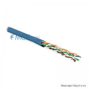 Hyperline UUTP4-C6-P24-NCR-IN-LSZH-BL-100 (100 м) Кабель витая пара, неэкранированная U/UTP, категория 6, 4 пары (24 AWG), многожильный (patсh), без разделителя, LSZH, нг(С)-HF, –5°C–+60°C, синий