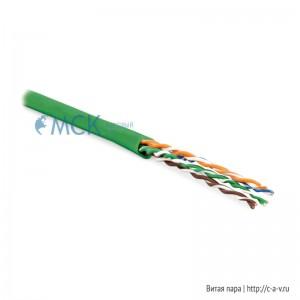 Hyperline UUTP4-C6-P24-NCR-IN-LSZH-GN-100 (100 м) Кабель витая пара, неэкранированная U/UTP, категория 6, 4 пары (24 AWG), многожильный (patсh), без разделителя, LSZH, нг(С)-HF, –5°C–+60°C, зеленый