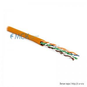 Hyperline UUTP4-C6-P24-NCR-IN-LSZH-OR-100 (100 м) Кабель витая пара, неэкранированная U/UTP, категория 6, 4 пары (24 AWG), многожильный (patсh), без разделителя, LSZH, нг(С)-HF, –5°C–+60°C, оранжевый