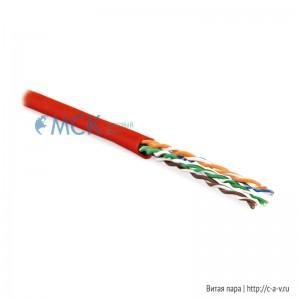Hyperline UUTP4-C6-P24-NCR-IN-LSZH-RD-100 (100 м) Кабель витая пара, неэкранированная U/UTP, категория 6, 4 пары (24 AWG), многожильный (patсh), без разделителя, LSZH, нг(С)-HF, –5°C–+60°C, красный