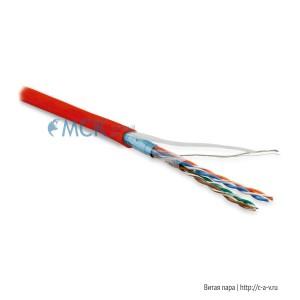 Hyperline FUTP4-C5E-P26-IN-LSZH-RD-305 (FTP4-C5E-PATCH-LSZH-RD-305) (305 м) Кабель витая пара, экранированная F/UTP, категория 5e, 4 пары (26 AWG), многожильный (patch), экран - фольга, LSZH, нг(С)-HF, –20°C – +75°C, красный
