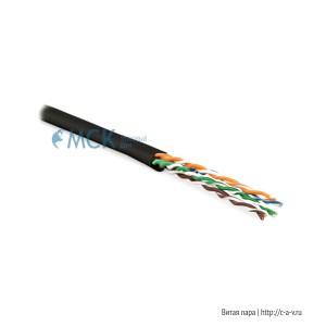Hyperline UUTP4-C5E-P24-IN-LSZH-BK-100 (100 м) Кабель витая пара, неэкранированная U/UTP, категория 5e, 4 пары (24 AWG), многожильный (patсh), LSZH, нг(С)-HF, -20°C – +75°C, черный