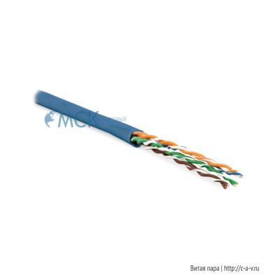 Hyperline UUTP4-C5E-P24-IN-LSZH-BL-100 (100 м) Кабель витая пара, неэкранированная U/UTP, категория 5e, 4 пары (24 AWG), многожильный (patсh), LSZH, нг(С)-HF, -20°C – +75°C, синий