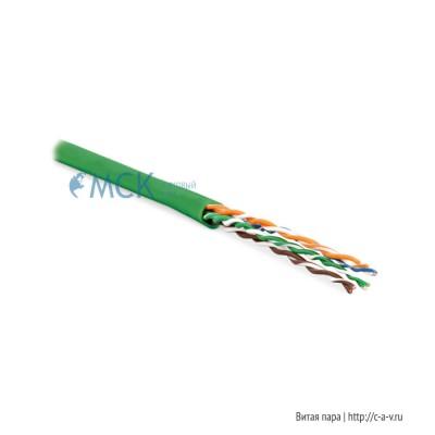 Hyperline UUTP4-C5E-P24-IN-LSZH-GN-100 (100 м) Кабель витая пара, неэкранированная U/UTP, категория 5e, 4 пары (24 AWG), многожильный (patсh), LSZH, нг(С)-HF, -20°C– +75°C, зеленый