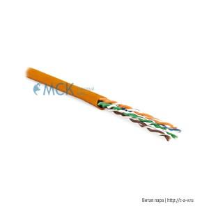 Hyperline UUTP4-C5E-P24-IN-LSZH-OR-100 (100 м) Кабель витая пара, неэкранированная U/UTP, категория 5e, 4 пары (24 AWG), многожильный (patсh), LSZH, нг(С)-HF, -20°C–+75°C, оранжевый