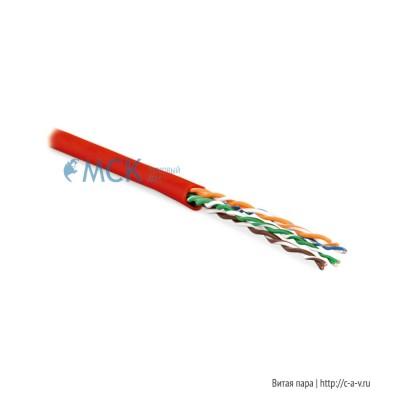 Hyperline UUTP4-C5E-P24-IN-LSZH-RD-100 (100 м) Кабель витая пара, неэкранированная U/UTP, категория 5e, 4 пары (24 AWG), многожильный (patсh), LSZH, нг(С)-HF, -20°C– +75°C, красный