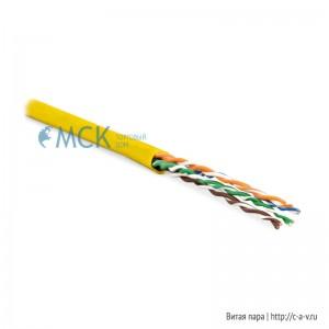 Hyperline UUTP4-C5E-P24-IN-LSZH-YL-100 (100 м) Кабель витая пара, неэкранированная U/UTP, категория 5e, 4 пары (24 AWG), многожильный (patсh), LSZH, нг(С)-HF, -20°C – +75°C, желтый