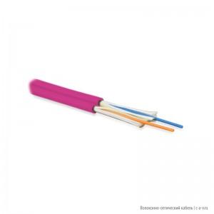 Hyperline FO-D3-IN-504-2-LSZH-MG Кабель волоконно-оптический 50/125 (OM4) многомодовый, 2 волокна, duplex, zip-cord, плотное буферное покрытие (tight buffer) 3.0 мм, для внутренней прокладки, LSZH, маджента