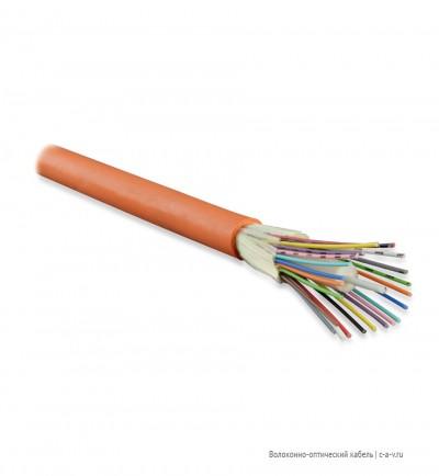 Hyperline FO-DT-IN-50-24-PVC-OR (FO-D-IN-50-24-FRPVC) Кабель волоконно-оптический 50/125 (OM2) многомодовый, 24 волокна, плотное буферное покрытие (tight buffer), для внутренней прокладки, PVC, -25°C - +75°C, оранжевый