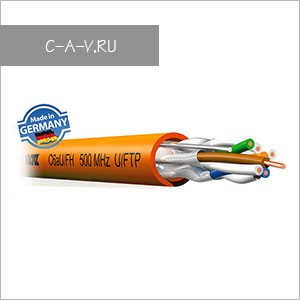 C6AU/FH - кабель витая пара, 6 категория, U/FTP (c  экранировкой каждой пары), 4 пары, 500 Мгц, негорючий