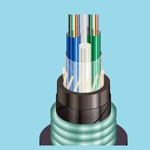 Оптический кабель ОАрБгП с бронёй из слоя арамидных нитей и гофрированной стальной ленты  (ОарБгП-С)
